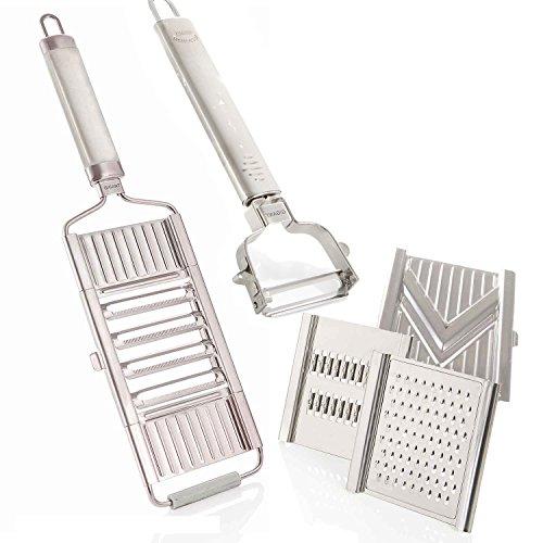 Muxels Gigant 4-fach Hobel mit Sparschäler und Restehalter mit 3 Zusätzlichen Einsätzen Parmesanreibe, Juliennereibe und V-Hobel
