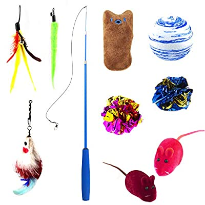 ICONIC Cat Feather Toys | Cat Toy set 10 Pcs Including Retractable Teaser Wand Feather Refills with Bells Mouse Toy Colorful Balls for Exercising Indoor Cats and kittens