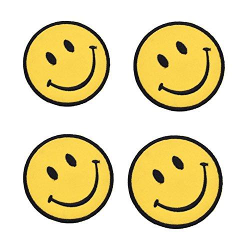 Kesheng 4pcs Parche Sonrisa Emoticono Termoadhesivo Bordado para Decoración de Ropas