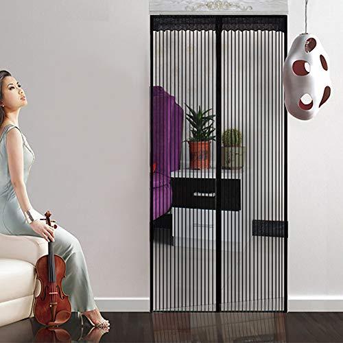Magnetische hordeur Eenvoudig te installeren Magnetische deurhor met superstrakke zelfsluitende magnetische afdichting en duurzaam gaasgaas van polyester gaas,Black,100 * 210