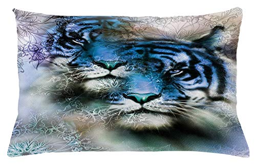 Ambesonne Animal Throw Pillow Cushion Cover, Two Tiger Safari Cat African Wild Furious Life Big Animals Artwork Print, Decorative Accent Pillow Case, 26 W X 16 L Inches, Blue Black and White