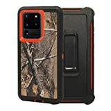 """WallSkiN Turtle Series Belt Clip Cases for Galaxy S20 Ultra (6.9""""), 3-Layer Full Body Life-Time Protective Cover & Holster & Kickstand & Shock, Drop, Dust Proof - Camouflage/Orange"""