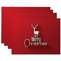 メリークリスマスランチョンマット プレイスマット オーナメントキッチンコースターダイニングテーブルマットボウルカップパッド家の装飾クリスマスギフト新年2021,D