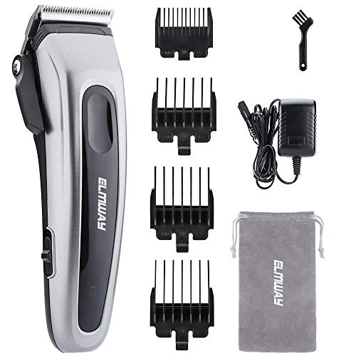 ELMWAY Professional Hair Clippers for Men, Hair Trimmer Barber Clippers Hair Cutting Grooming Kit, Corded and Cordless Operation (Gray)