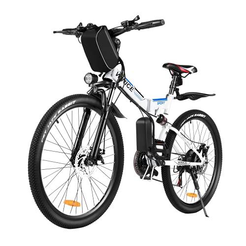 VIVI 350W Faltbares E-Bike Mountainbike, 26 Zoll Elektrofahrrad Klappbar Für Herren und Damen, Professionelle Shimano 21-Gang 36V 8Ah Lithium-Ionen Batterie (Blau Weiß)