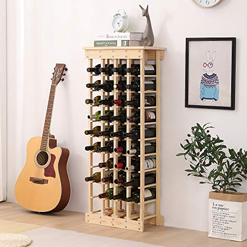 botellero vino, botellero madera, fácil de montar, muy práctico, apto para amantes del vino (40...