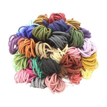 15 piezas Cuerda de Cuero, Cuerdas Cuero Cordón de Ante Plano Cuerda de Gamuza Cordon de Antelina para Pulsera Collar Fabricación de Bisutería y ...