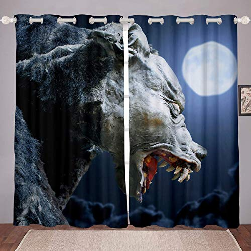 SPXUBZ Paneles de cortina para ventana, color gris, diseño de monstruo luna, 2 paneles para dormitorio (cada panel 42 x 63 L)