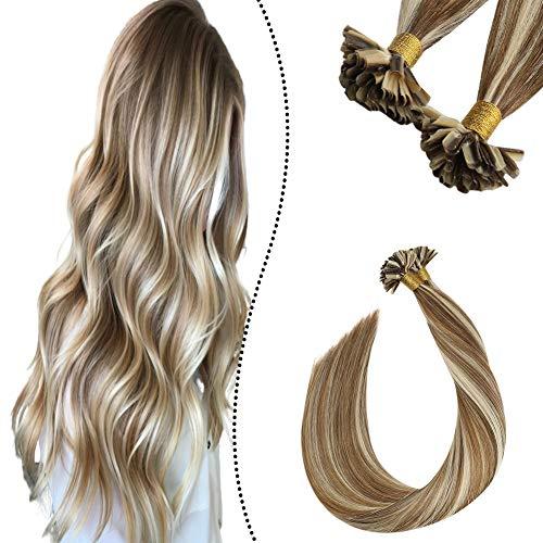 Ugeat Keratin Fusion Glue U Sticks Extensions 1 Gramm 50 Strahnen Individual Bonding Set mit Haare Highlights Goldbraun bis Gebleichtes Blond #P10/613 14