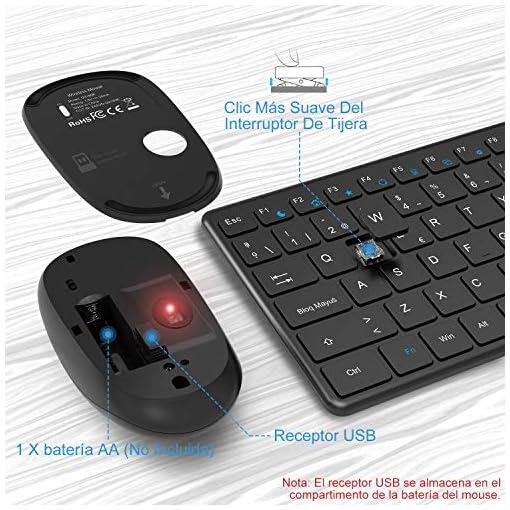 WisFox Combo de Teclado y Mouse Inalámbricos, 2.4G Mouse de Teclado Delgado de Tamaño Completo Packs con Receptor Nano… 5
