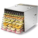 CO-Z Commercial Grade Stainless Steel Electric Food Dehydrator Machine, Meat or Beef Jerky Maker,...