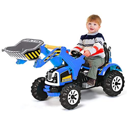 COSTWAY 12V Kinder Bagger, Kinderbagger 2,5-5 km/h, Sitzbagger mit Schaufel, Elektro Bagger Spielzeug, Sandbagger mit Vor-/Rückwärtsschalter, Aufsitzbagger für Kinder von 3 bis 8 Jahren (Blau)