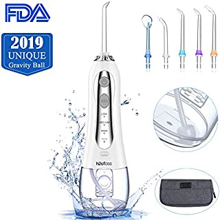 Cordless Water Flosser, Professional Dental Oral Irrigator, 300ml Portable Waterproof Teeth Cleaner, 3-mode USB Rechargeable Electric Water Flossing with 5 Jet Tips for Home, Travel, Braces Gum Care