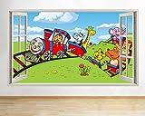 SHANWP Adhesivo decorativo para pared con diseño de animales y zoo para niños