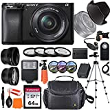 Sony Alpha a6100 Mirrorless Digital Camera with 16-50mm Lens + Wide-Angle & Telephoto Conversion Lens, 64GB Memory Card, Flex Tripod, Close-up & Filter Kits, Digital Flash & More…