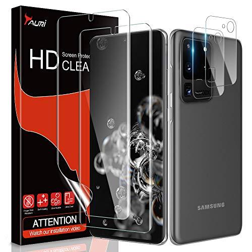 TAURI Schutzfolie für Samsung Galaxy S20 Ultra / S20 Ultra 5G, 2 Stück S20 Ultra Kamera Panzerglas + 2 Stück S20 Ultra TPU folie, [Fingerabdruck-ID unterstützen][Anti-Öl/Bläschen]Klar HD displayschutz