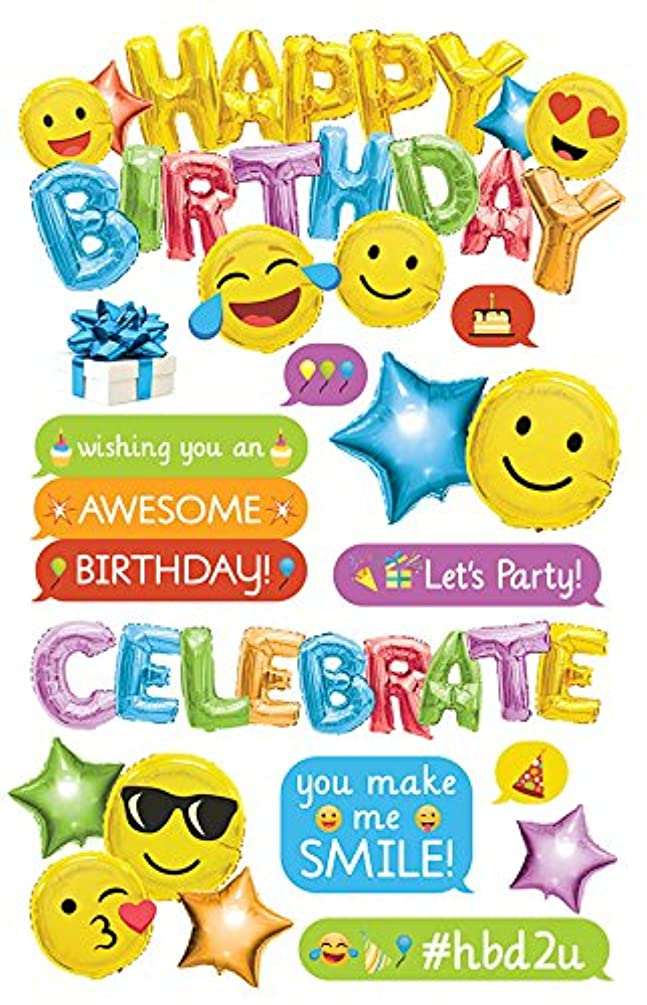 Paper House Productions Dimensional Sticker, Emoji Birthday (3 Pack), 3 Piece