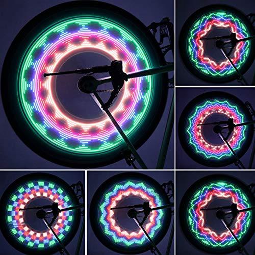 Luces de Rueda de Bicicleta, Coloridas Impermeable Luces de Llanta de Bicicleta Luces Noche Bicicleta con 16 Led y 32 Patrones Brillantes para Neumáticos de Rueda MTB (2PCS)