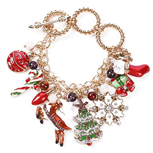 FunPa kerstdecoratie kerstarmband creatieve instelbare leuke bedelarmband vakantie armband multicolor