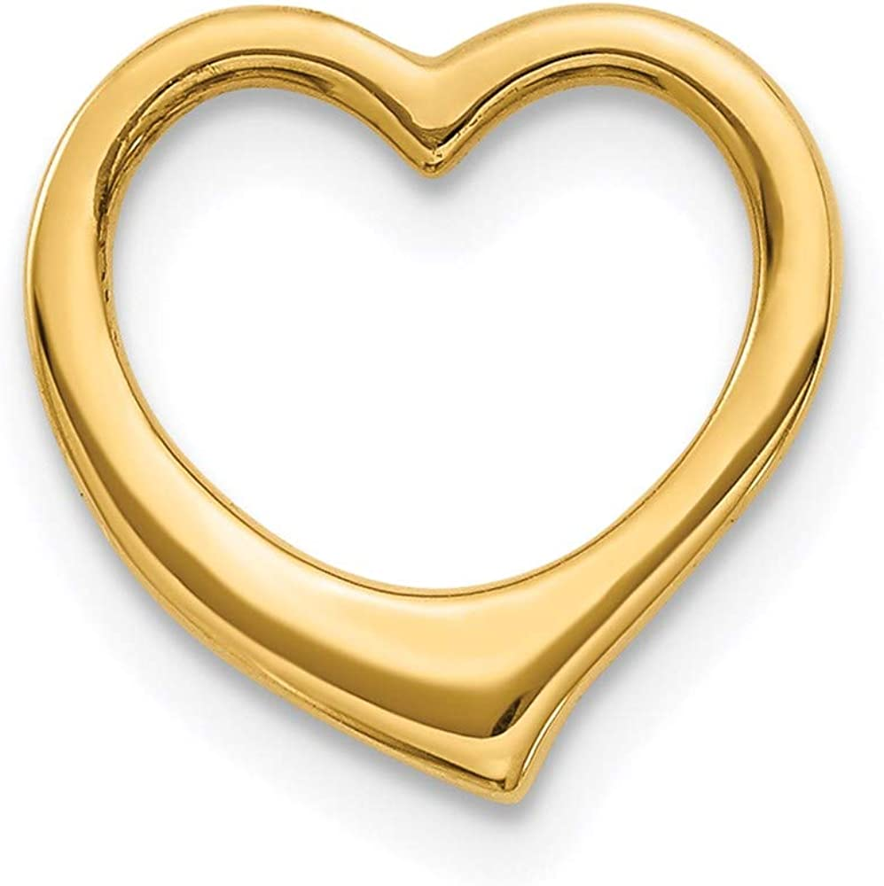14k Yellow Gold Heart Necklace Chain Slide Pendant Charm Fine Jewelry For Women Gifts For Her