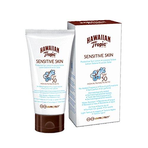 Hawaiian Tropic Sensitive Skin Body - Loción Solar Protectora para Cuerpo especial para Piel Sensible con protección Muy Alta SPF 50, fórmula No Grasa y resistente al agua, formato Corporal 90 ml
