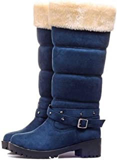 LaBiTi Womens Soft Fur Lined Warm Winter Boot Button Mid Calf Faux Suede Girls