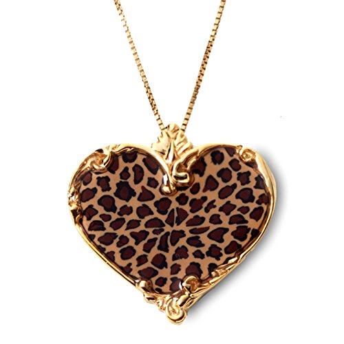 Gold Plated Silver Heart Necklace Handmade Leopard Print Polymer Clay Jewelry, 16.5