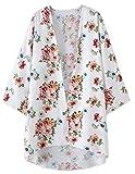 Blusa Larga Tops Blusa Estampado de Flores Abrigo Frontal Kimono Abrigos Chaquetas Blanco M