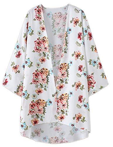 Blusa de Gasa Transparente para Mujer Tops Sueltos Kimono Largo con Estampado Floral Cardigan Blanco XXL