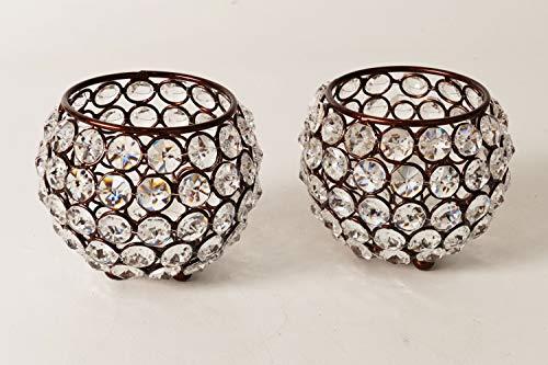 Artra kristallen kandelaar Marie set van 2 bolletjes 10 cm in bruin theelichthouder kandelaar tafel bruiloft feest theelichthouder kandelaar tafeldecoratie gastgeschenken