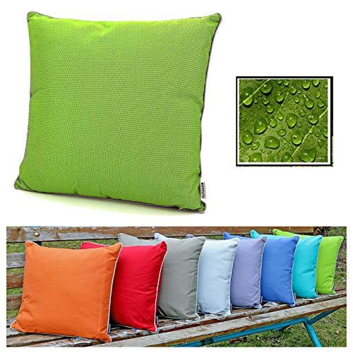 fashion and joy Outdoor Lounge Dekokissen Lotus Effekt 45x45 in grün wetterfest schmutz- und wasserabweisend Struktur Garten Kissen hellgrün Loungekissen Typ551