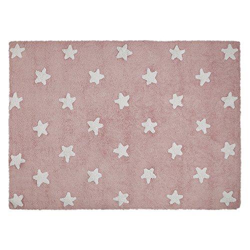 Lorena Canals - Alfombra infantil, diseño de estrellas, color blanco y rosa