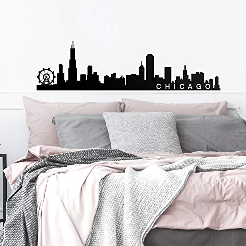 Vinyl Wall Art Decal - Chicago Skyline - 16' x 60' - Unique Modern Illinois American USA Midwestern City Home Bedroom Living Room Store Shop Mural Indoor Outdoor Silhouette Adhesive Decor