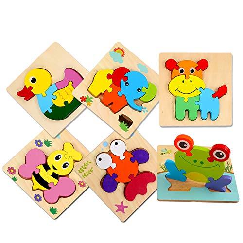 Sendida 6 パズル おもちゃ 木製 - 6 動物 ジグソー パズル 適切な年齢:6歳以上