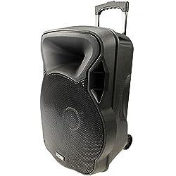 800W Mobile LED Sound System Karaoke Bluetooth USB SD Trolley Radio Micro MP3 PARTY-15LED