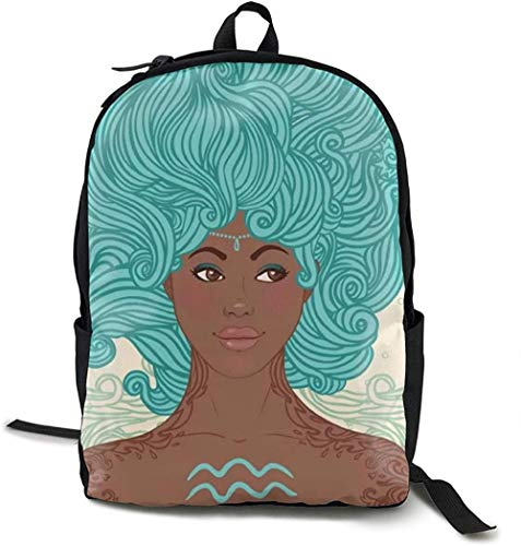 Mochila Escolar Aquarius Woman Print Mochila Clásica Mochila Escolar Mochila De Ocio Personalizada Mochila De Viaje Unisex Al Aire Libre