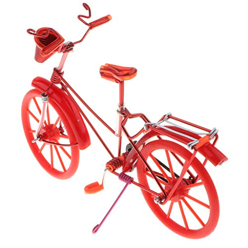 Fenteer Miniatur Fahrrad Figur Geldgeschenk Fahrradmodell Tischdeko, ca. 20 x 6 x 13 cm - Rot