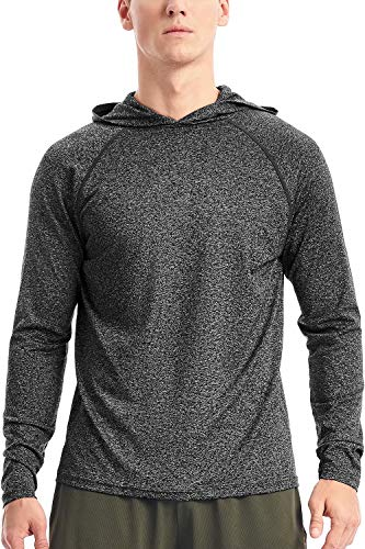 Mens Lightweight Workout Hoodie Long Sleeve Hooded T Shirts for Men UV Sun Protection(L,32-Charcoal Heather)