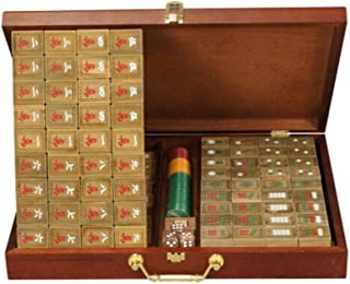 ZHLJ Green Sandalwood Mahjong Ancient Collections Home Leisure Entertainment Toys Five-Layer Wooden Box Mahjong Mat Mahjong (Edition : A)