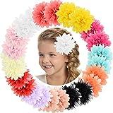 ALinmo Baby Girls Clips 24pcs 3.5' Chiffon Flower Clips Hair Barrettes Hair Pins Hair Accessories for Baby...