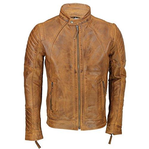 Xposed Chaqueta de piel auténtica para hombre estilo motociclista, de corte delgado, pintada a mano, color marrón