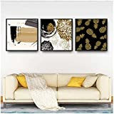 Lienzo de estilo nórdico, piña, hoja de arce, pintura abstracta, imágenes para el hogar, impresiones artísticas de pared, póster modular simple, decoración para sala de estar, 50x50 cm x3, sin marco