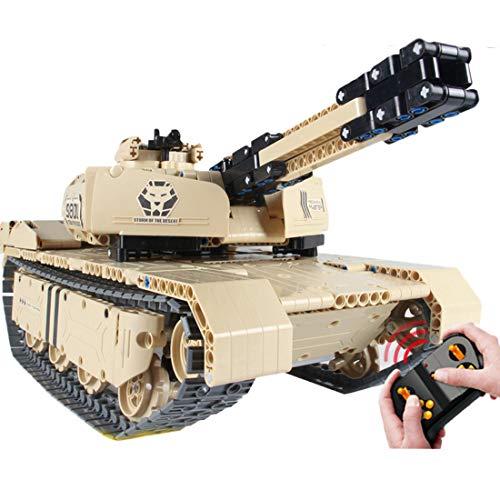 TETAKE Technik Panzer Modell mit Funktion Motoren, 1/16 Ferngesteuertes Militär Tank Modellbausatz - Klemmbausteine Konstruktionsspielzeug mit 1276 Teile - 45x26x19cm