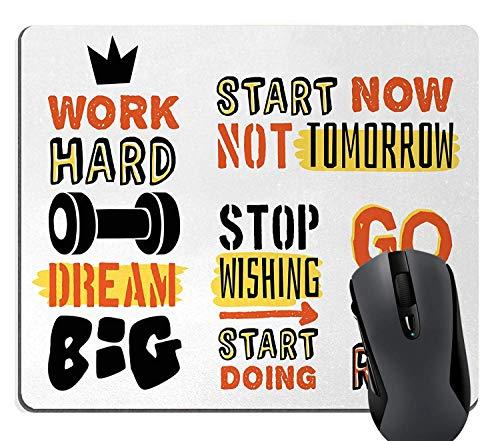 Fitness citaten inspirerende muismat, sport bevestiging positieve citaten motiverende typografie ontwerp Sneakers, rechthoek anti-slip rubber muismat