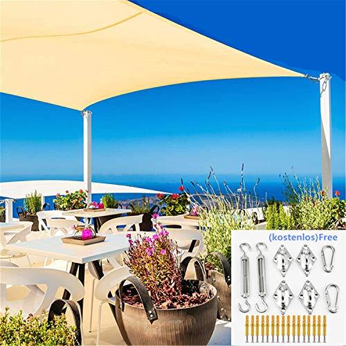 DURAM Wasserdicht Sonnensegel Sonnenschutz Garten Befestigung Set- Rechteck, Markisen Sonnenschutz Garten Balkon Wetterschutz Terrasse UV-Schutz wetterbeständig Segel(2 * 3m)