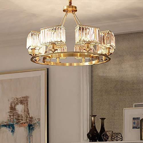Binnen imitatie koper kristallen kroonluchter licht luxe woonkamer eetkamer lamp moderne minimalistische slaapkamer studie Amerikaanse lampen groothandel 5 Φ65cm