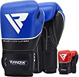 RDX Boxing Gloves for Training Muay Thai - Genuine Cowhide Leather Infused Gel Gloves for Sparring, Kickboxing and Heavy Punching Bag, Fighting, Bag Mitts, Focus Mitts