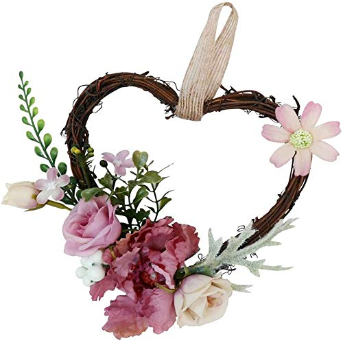 AMOYEE Wreath Handmade Pink Floral Wreath Artificial Spring Garland Wreath for Front Door Wall Wedding Party Home Decor 18 x 14 x 6 cm