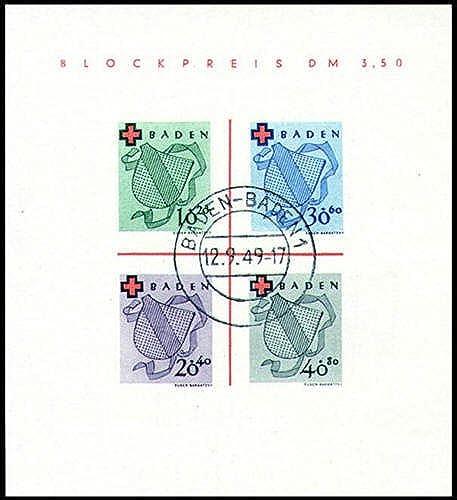 Goldhahn Franz sche Zone Baden Block 2 gestempelt Rotes Kreuz Briefürken für Sammler