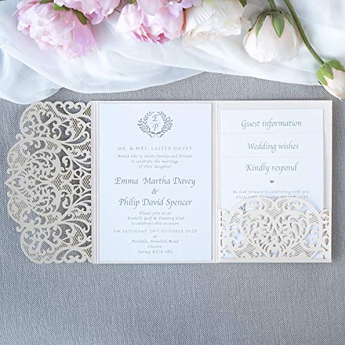 Lasergeschnittene Hochzeit Einladungskarten (Probe - Sample) DIY- Pfirsich Spitze - Hochzeitskartenn + Kuvert + unabhängiges Drucken - Vorgedrucktes Sample!